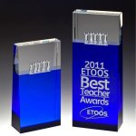 Together Blue Block Tower Crystal Award Achievement Awards