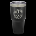 Vacuum Insulated Black Powder Coated Stainless Steel Mug with Clear Lid Gift Awards